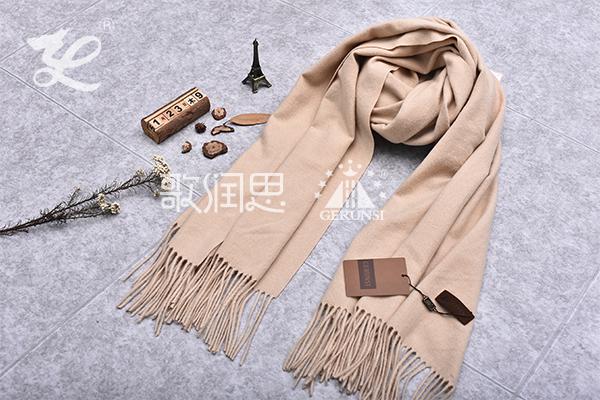 300克夹花围巾(米色百搭保暖长围巾)