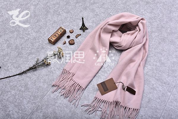 300克夹花围巾(浅粉红色时尚简约百搭围巾)