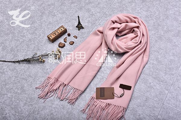 300克夹花围巾(粉红色时尚百搭保暖围巾)