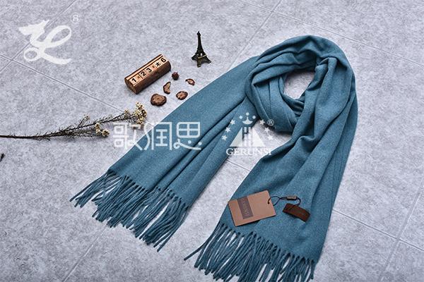 300克夹花围巾(牛仔蓝长款简单保暖围巾)
