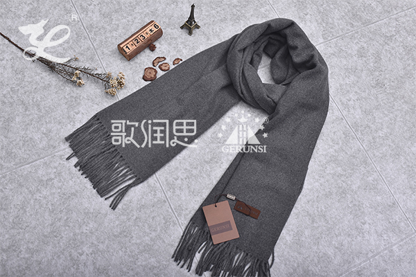 300克夹花围巾(深灰色时尚简约防风围巾)