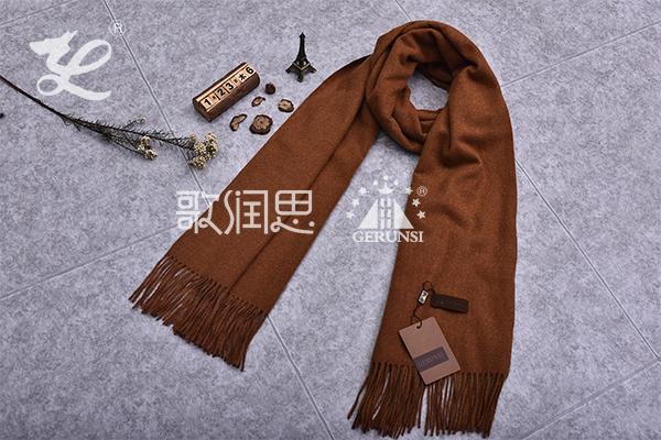 300克夹花围巾(焦糖时尚简约百搭围巾)