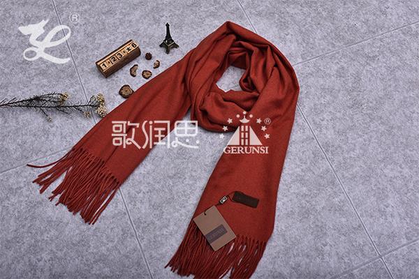 300克夹花围巾(浅砖红色时尚简约围巾)
