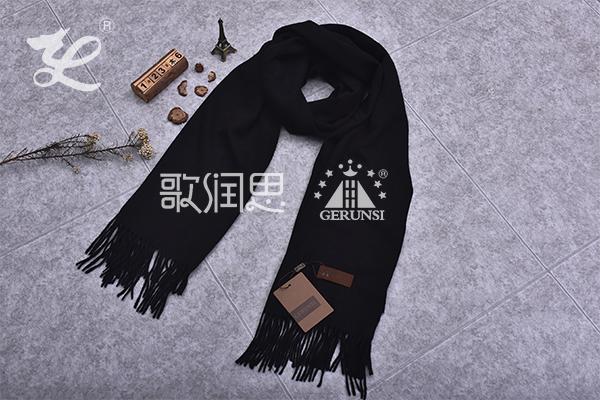 300克夹花围巾(黑色简单保暖围巾)