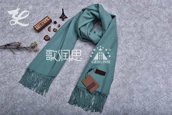 300克夹花围巾(蓝灰色时尚简约长围巾)