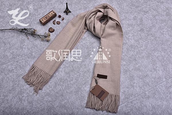 300克夹花围巾(卡其色时尚百搭围巾)