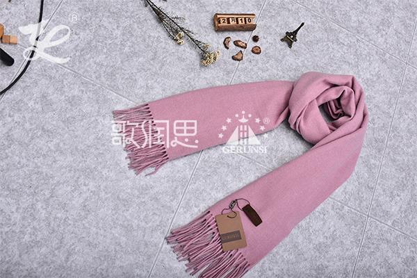 300克夹花围巾(紫色粉红色的秋冬保暖围巾)