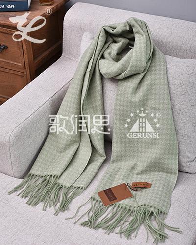 提花拉毛围巾(绿色保暖百搭围巾)