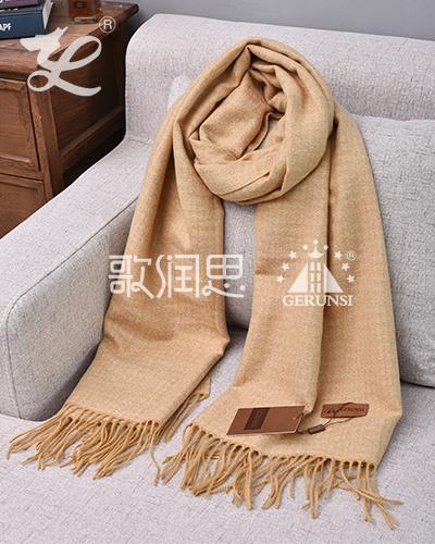 提花拉毛围巾(黄色长款时尚围巾)