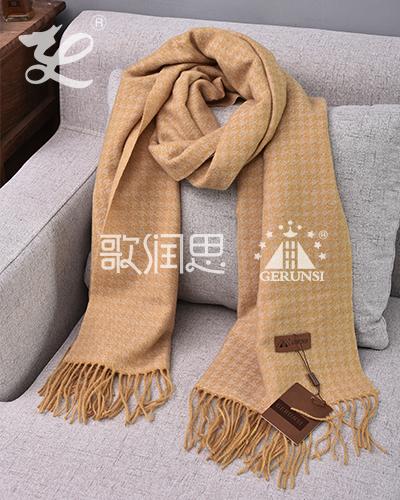 提花拉毛围巾(卡其色保暖防风围巾)