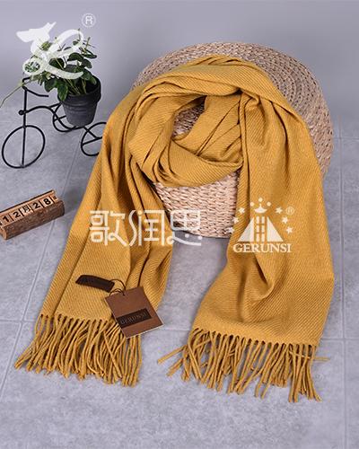 大斜纹300克围巾(姜黄简单百搭围巾)