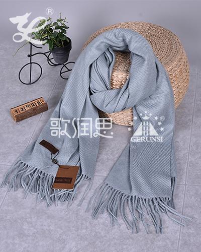大斜纹300克围巾(蓝灰色百搭时尚围巾)