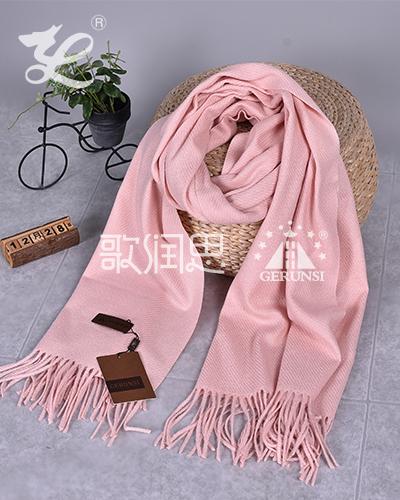 大斜纹300克围巾(樱花粉色百搭长围巾)