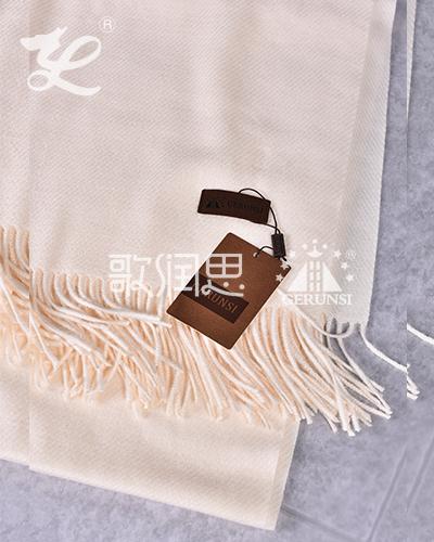 大斜纹300克围巾(乳白色保暖防风围巾)